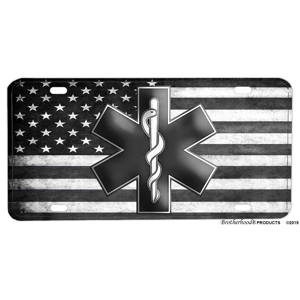 Emergency Medical Services EMS Star of Life Subdued American Flag Aluminum License Plate
