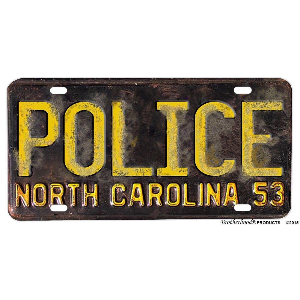 1953 North Carolina POLICE Reproduction Aluminum License Plate