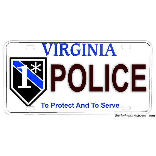 Thin Blue Line Flag or One Ass To Risk Virginia Police Aluminum License Plate