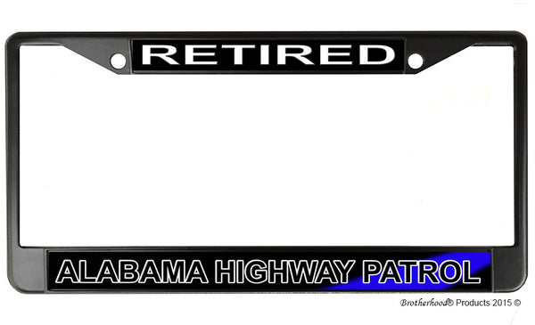 Retired Alabama Highway Patrol License Plate Frame Chrome or Black