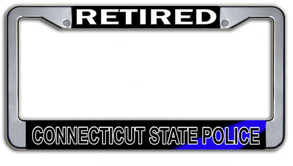 Retired Connecticut State Police License Plate Frame Chrome or Black