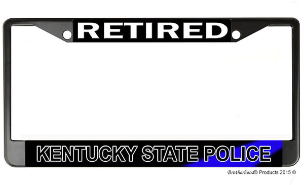 Retired Kentucky State Police License Plate Frame Chrome or Black