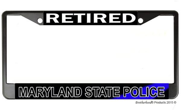 Retired Maryland State Police License Plate Frame Chrome or Black
