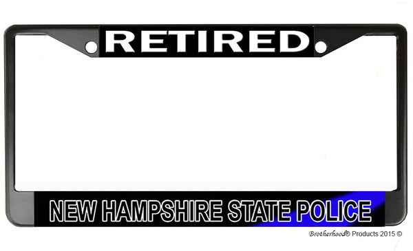 Retired New Hampshire State Police  License Plate Frame Chrome or Black