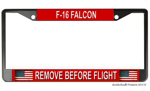 F-16 Falcon Remove Before Flight License Plate Frame