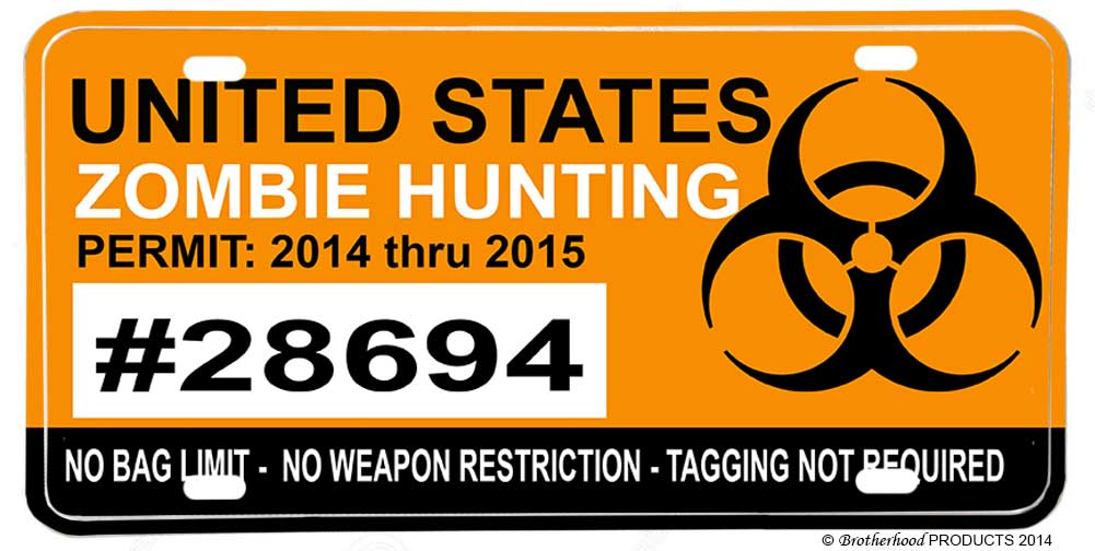 US Zombie Hunting Permit Aluminum License plate