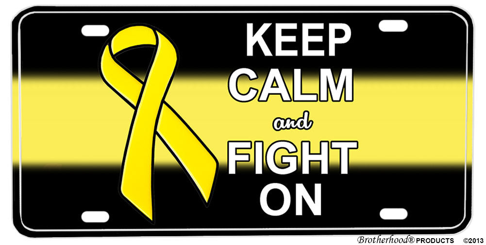 Yellow Ribbon Military Support Keep Calm & Fight On License plate
