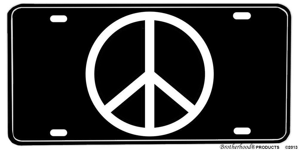 Black and White Peace Sign Aluminum License plate