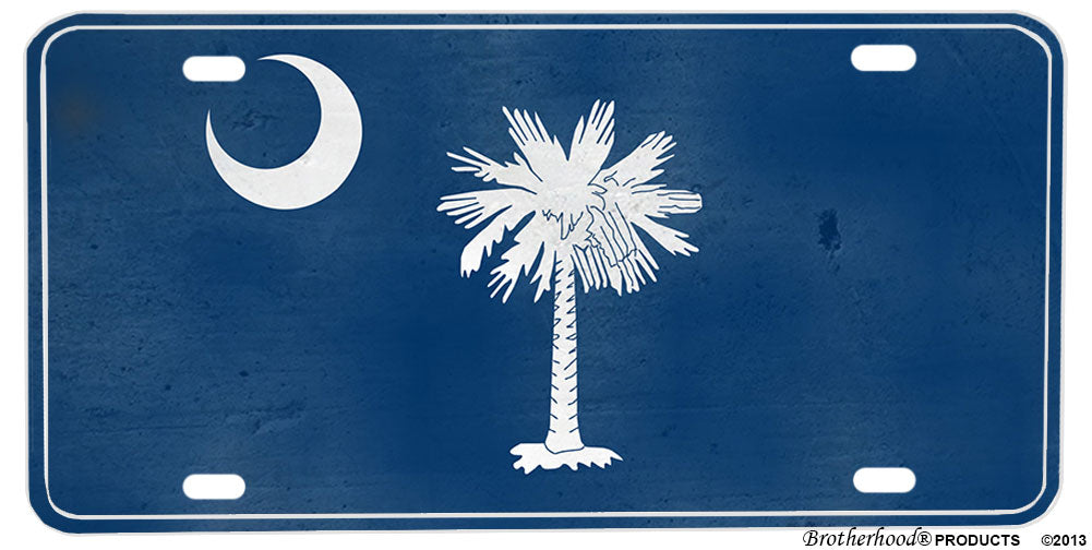 South Carolina Palm Tree & Moon Distressed Look License plate