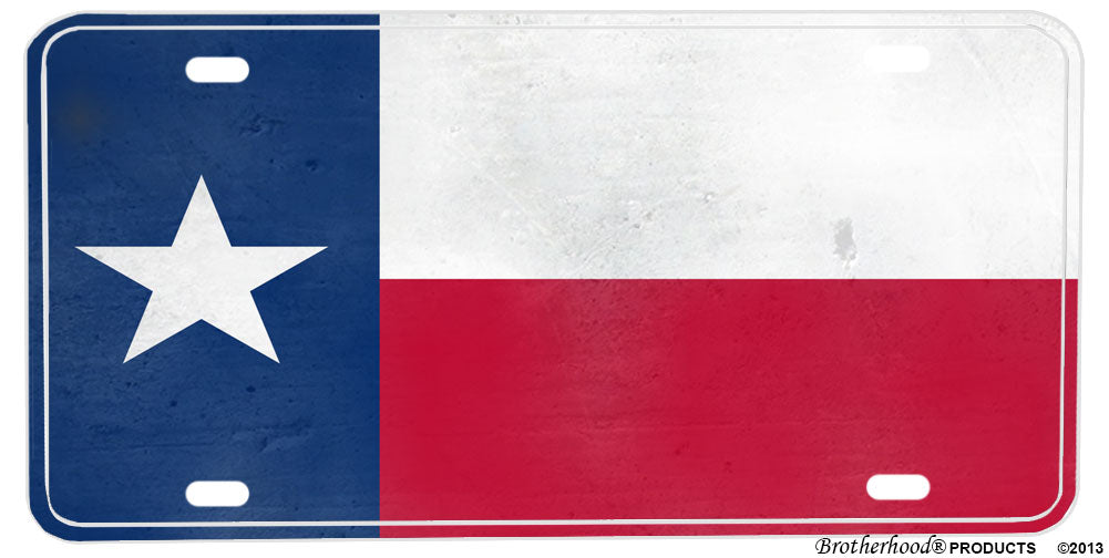 Texas Distressed State Flag Aluminum License plate