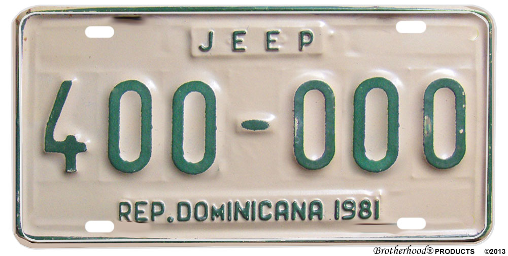 1981 Rep. od Dominicana Jeep Reproduction Aluminum License plate