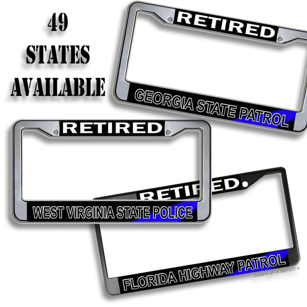 49 States Thin Blue Line Retired State Police Highway Patrol Metal License Plate Frame
