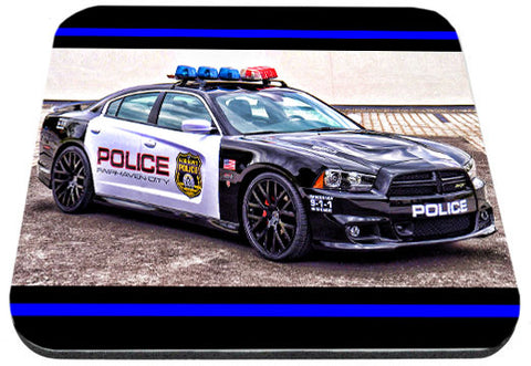 Mustang Charger Police Car With Thin Blue Line Mouse Pad