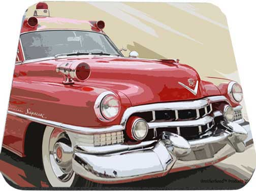 Old Cadillac Ambulance Mouse Pad