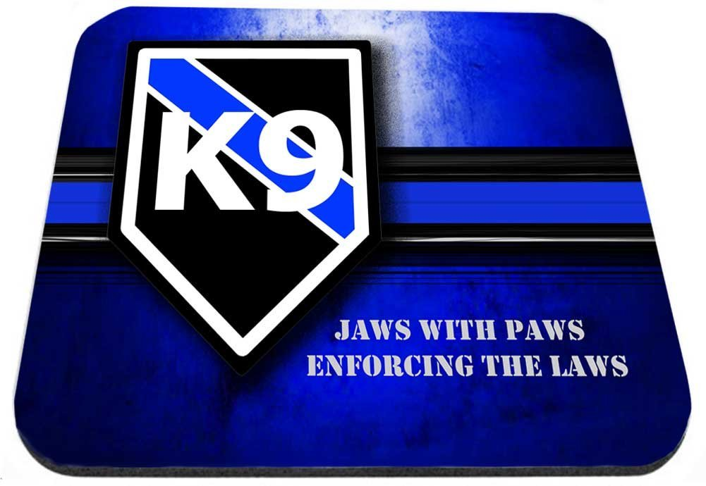 Police Sheriff Canine Thin Blue Line K9 Jaws with Paws Mouse Pad
