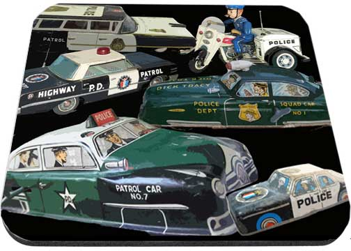 Old Tin Police Wind Up Toys Mouse Pads