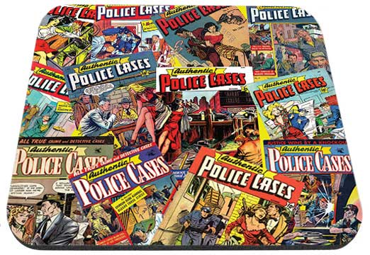 Old Police Cases Magazine Covers Mouse Pad