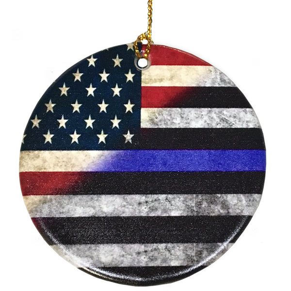 First Responders Red White & Blue Thin Blue Line American Flag Personalized Police, Sheriff Or Firefighter Tree Ornament (Red White & Blue American Flag)
