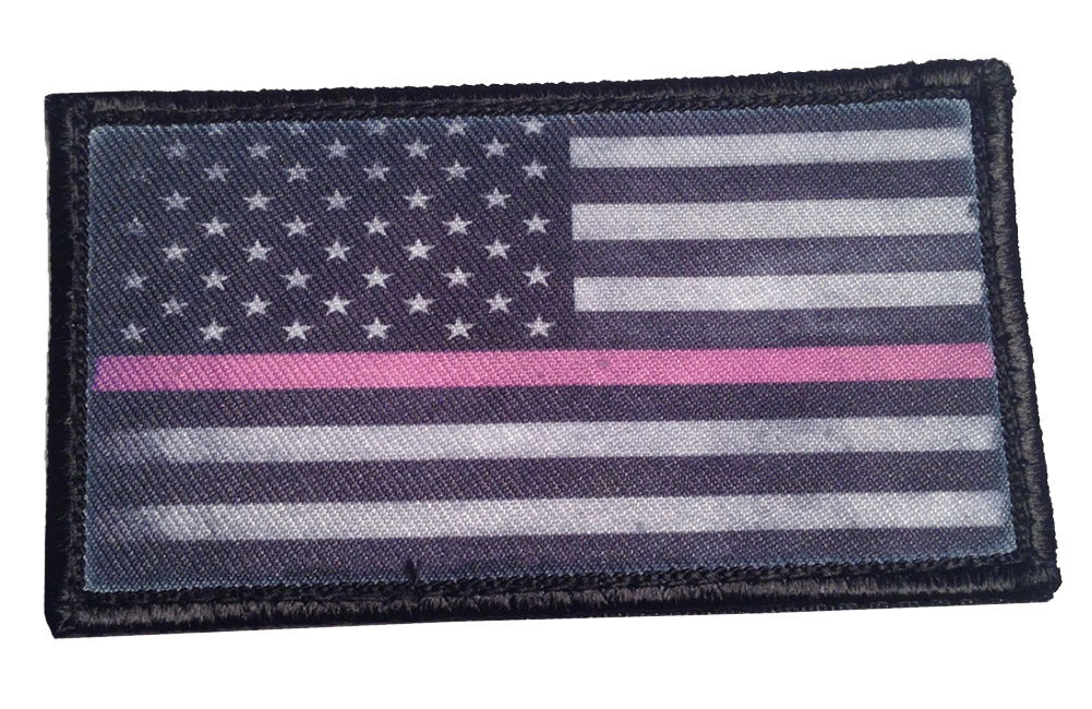 Thin Pink Line Subdued American Flag Breast Cancer Awareness Velcro Patch - PACKAGE OF 4