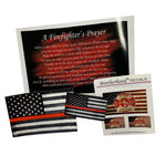 firefighter prayer print thin red line American flag decal and magnets bundle