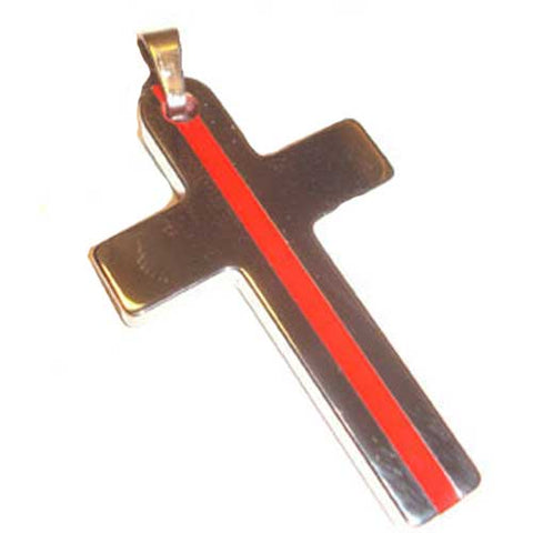 Tungsten Fireman Thin Red Line Cross Key Ring Pendant