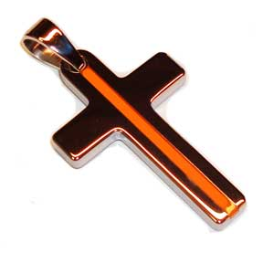 Tungsten Carbide Thin Orange Line EMS / EMT Cross Key Ring Pendant