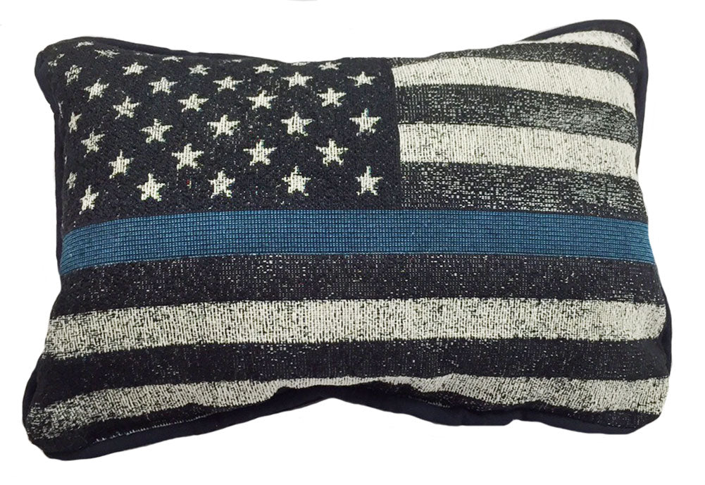 Thin Blue Line Subdued American Flag Pillow