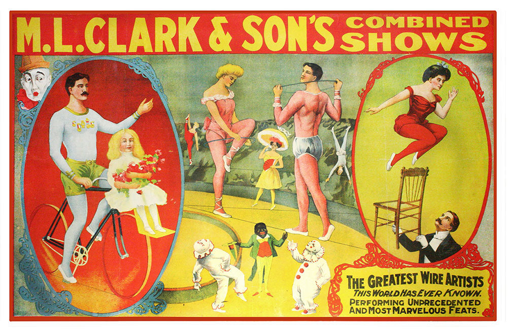 Vintage M.L. Clark & son's Combined Shows Circus Poster (11 x 17)