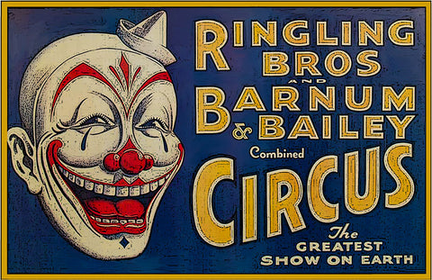 "Ringling Bros Barnum Bailey Circus Head Shot of Clown Horizontal Poster (11"" x 17"")"