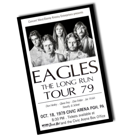 "Vintage 1979 Pittsburgh, PA Eagles The Long Run Tour Ticket Poster (11"" x 17)"