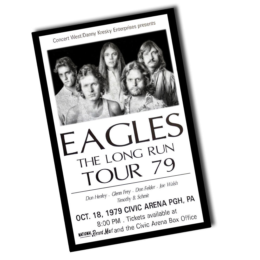 Vintage 1979 Charlotte, NC Eagles The Long Run Tour Ticket Poster (11 x 17)