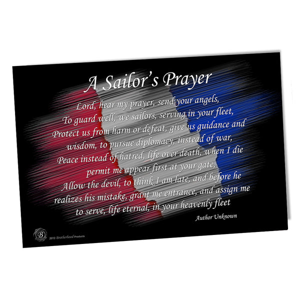 United States Navy Red White & Blue Sailor's Prayer Poster 11x17 or 24x36