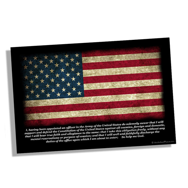 United States Army Officer Oath American Flag Poster 11x17 or 24x36