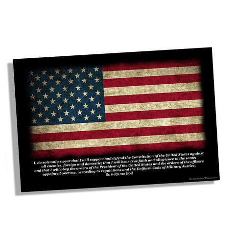 United States Military Oath American Flag Poster 11x17 or 24x36