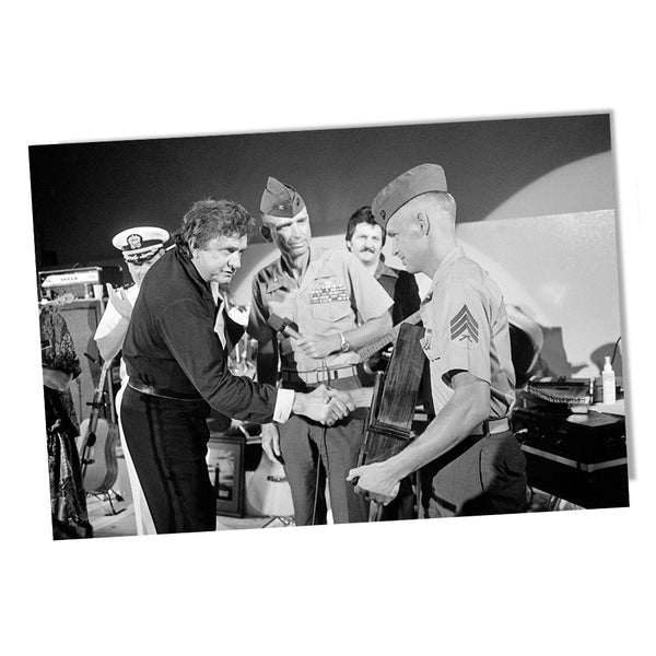 United States Marine Sergeant Shaking Hands with Johnny Cash On Stage Poster 24x36 or 11x17