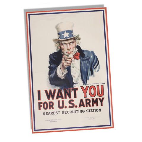 WWII I want You for the US Army Uncle Sam Recruiting Poster 11x17 or 24x36