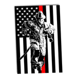 Thin Red Line Firefighter Flag Running Firefighter Poster 24x36 or 11x17