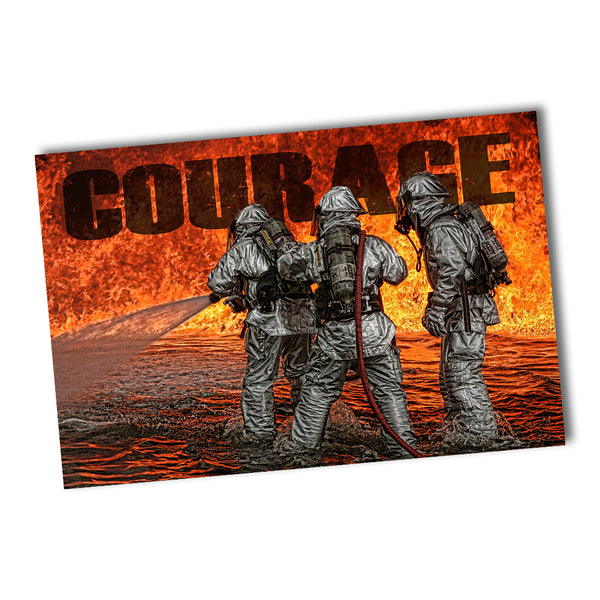Courage Firefighters Fight A Major Fire Fireman Poster 24x36 or 11x17