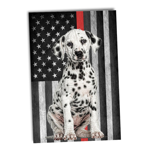 Thin Red Line Firefighter Flag Dalmatian Station Dog Poster 24x36 or 11x17