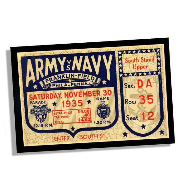 1935 Army vs Navy Football Ticket Franklin Field PA Design Poster 11x17 or 24x36