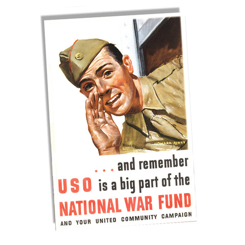 US Army Soldier USO is a Big Part of the National War Fund WWII Recruiting Poster 11x17 or 24x36