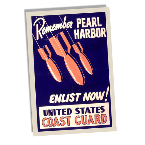 WWII US Coast Guard Remember Pearl Harbor Recruiting Poster 24x36 or 11x17
