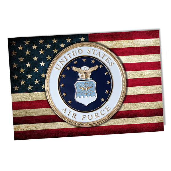 United States Air Force Emblem American Flag Poster 11x17 and 24x36