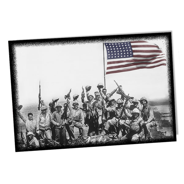 United States Marine Corps Marines On Iwo Jima with Raised Flag Poster 24x36 or 11x17