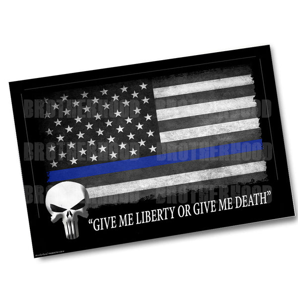 Thin Blue Line American Flag Punisher Skull Give Me Liberty Poster 24x36 or 11x17