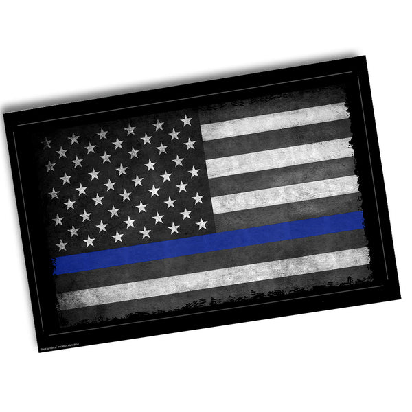 Subdued Thin Blue Line American Flag for Law Enforcement Poster 24x36 or 11x17
