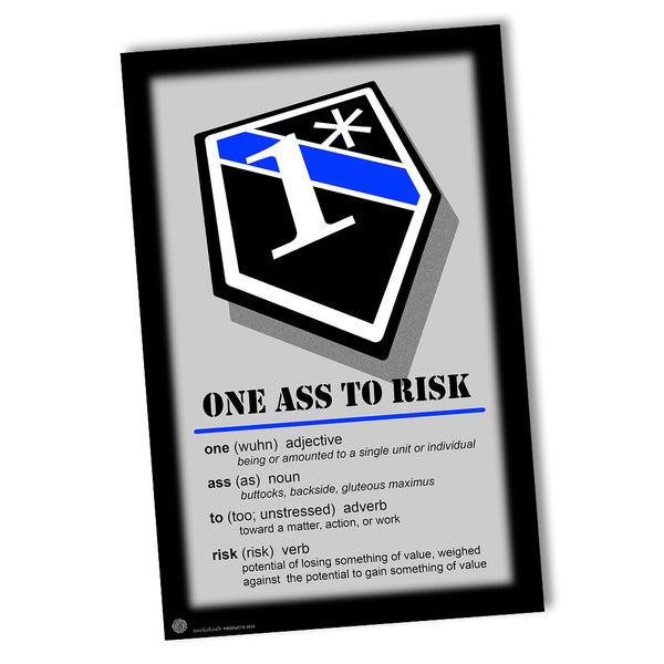 Law Enforcement Definition of 1* One Ass To Risk Poster 24x36 or 11x17