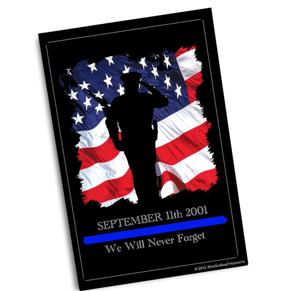 Sept. 11 2001 We Will Never Forget Police Officer Poster 24x36 or 11x17
