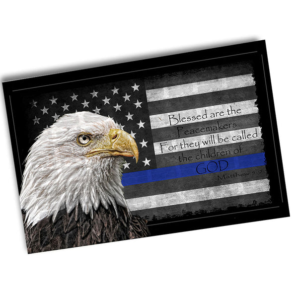 Thin Blue Line Law American Flag  Blessed Are The Peacemakers Poster 24x36 or 11x17