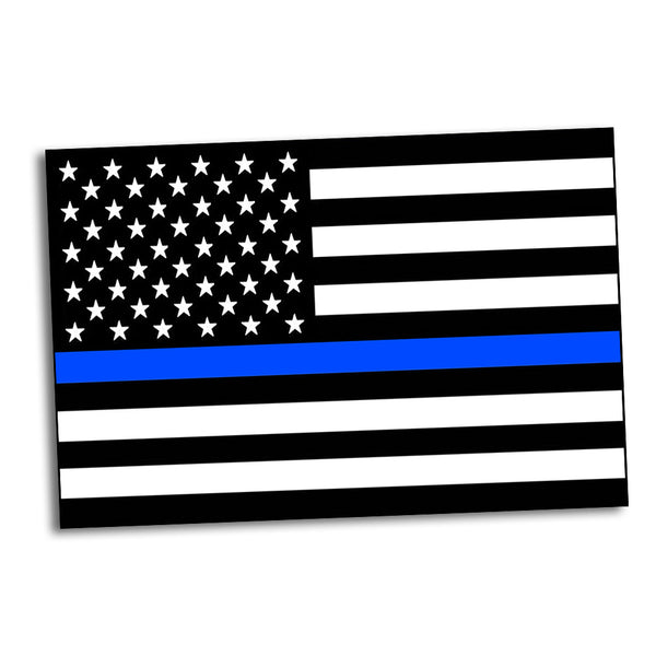 Police Posters of Thin Blue Line American Flag   24x36 or 11x17
